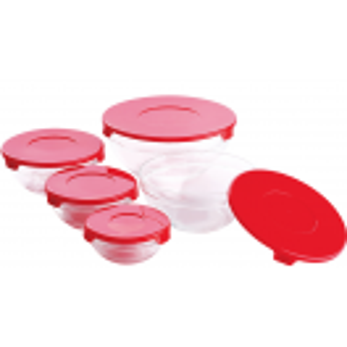 Комплект 5 стъклени купи със червени капаци Renberg