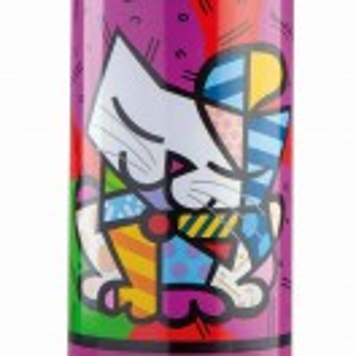 Метална термобутилка лилава с рисунка котка Romero Britto 500 мл